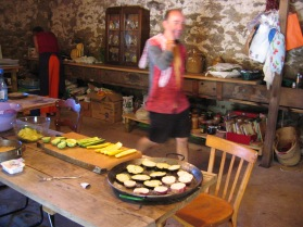 Dave prepping food for guests