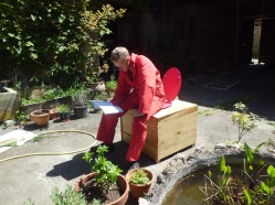 Liam on his compost toilet