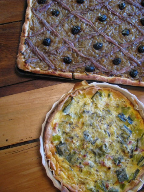 Homemade quiche and pissaldiere